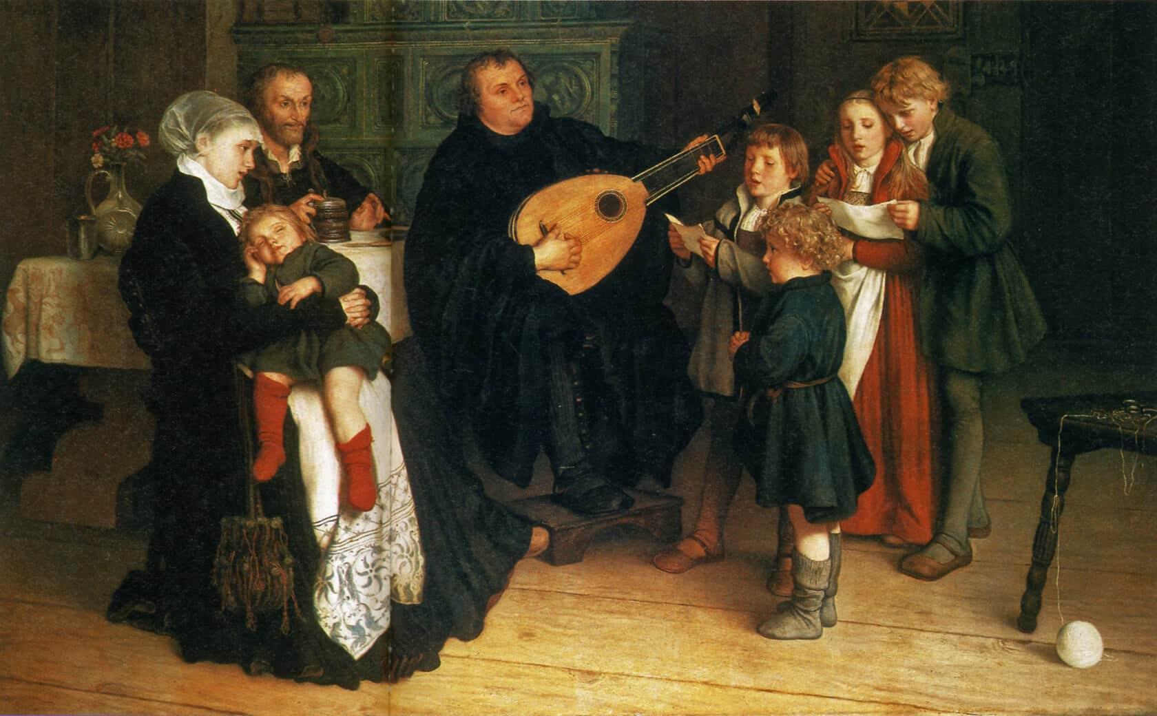 Luther im Kreise seiner Familie musizierend