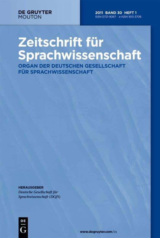 Zeitschrift für Sprachwissenschaft Cover