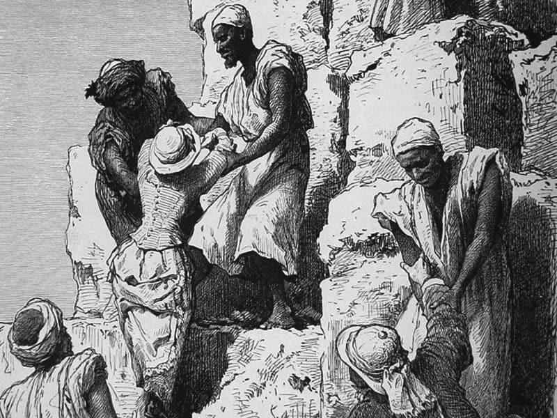 Ida Pfeiffer beim Aufstieg der Cheops-Pyramide
